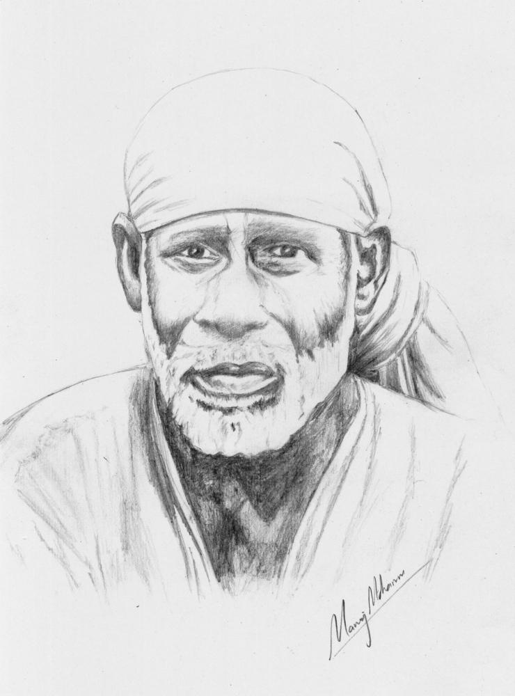 portrait of sai baba of shirdi by manoj on stars portraits